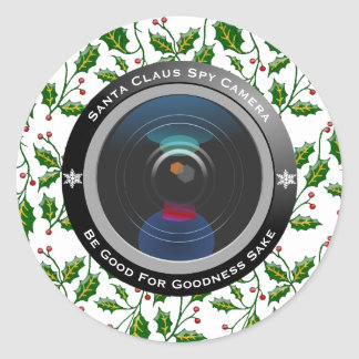 Pegatina Redonda Cámara espía de Papá Noel