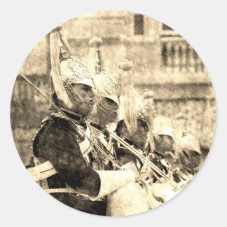 Pegatina Redonda Cambio de la caballería del hogar del vintage del