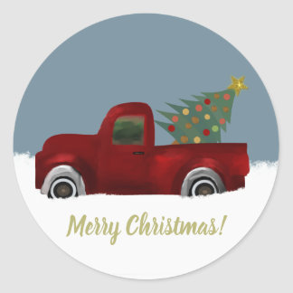 Pegatina Redonda Camión retro y árbol de navidad del vintage rojo