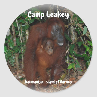 Pegatina Redonda Campo Leakey en Tanjung que pone el parque