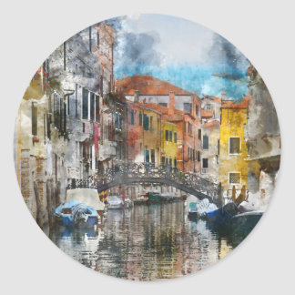 Pegatina Redonda Canales de la acuarela de Venecia Italia