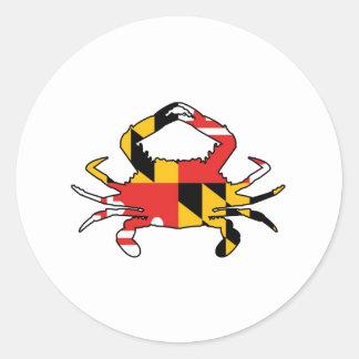 Pegatina Redonda Cangrejo de Maryland