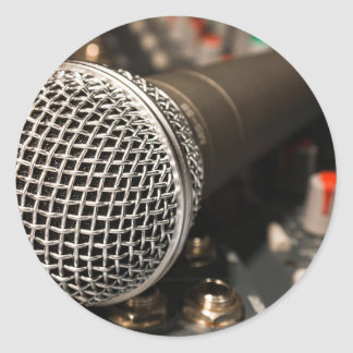 Pegatina Redonda Canto del cable de micrófono del cable del