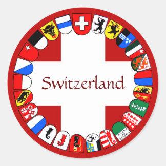 Pegatina Redonda Cantones suizos