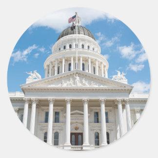 Pegatina Redonda Capitolio del estado de California en Sacramento
