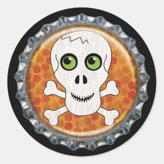 Pegatina Redonda Cápsula del cráneo de Halloween y de los huesos