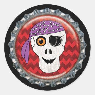 Pegatina Redonda Cápsula del cráneo del pirata de Halloween
