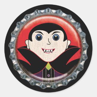 Pegatina Redonda Cápsula del vampiro de Halloween