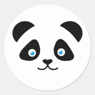 Pegatina Redonda cara del oso de panda