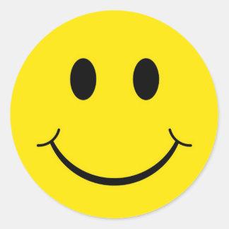Pegatina Redonda Cara feliz sonriente amarilla de los años 70