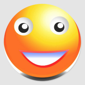 Pegatina Redonda Cara sonriente anaranjada y amarilla