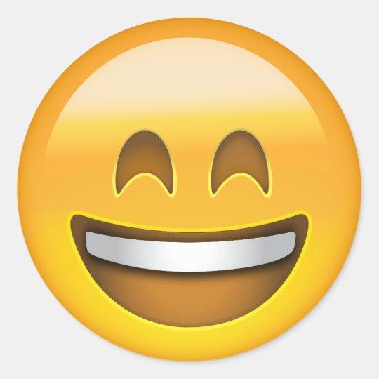 Pegatina Redonda Cara sonriente de la emoji con los ojos sonrientes