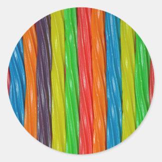 Pegatina Redonda Caramelo coloreado arco iris del regaliz