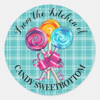 Pegatina Redonda caramelo de los lollipops de la cocina del