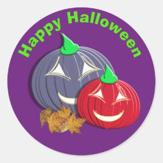 Pegatina Redonda Caras lindas de la calabaza del feliz Halloween
