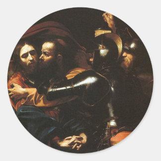Pegatina Redonda Caravaggio - el tomar de Cristo - ilustraciones