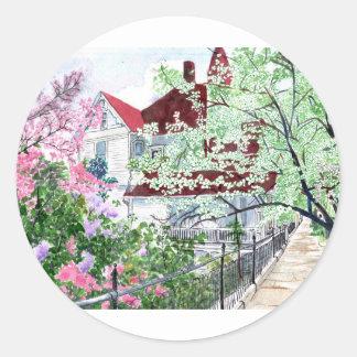 Pegatina Redonda Casa del Victorian de Eureka Springs