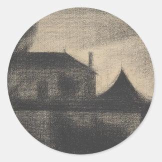 Pegatina Redonda Casa en la oscuridad (La Cité)