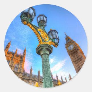 Pegatina Redonda Casas del parlamento Londres