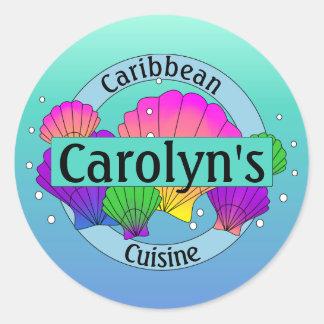 Pegatina Redonda Cáscaras y burbujas del Caribe del mar de la