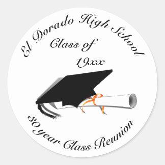 Pegatina Redonda Casquillo de la graduación - reunión de la High