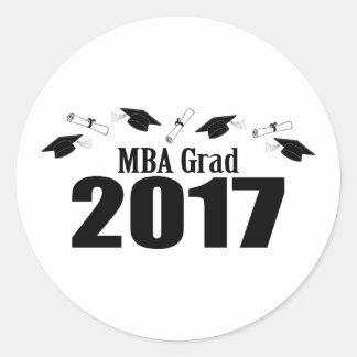 Pegatina Redonda Casquillos y diplomas (negro) del graduado 2017 de