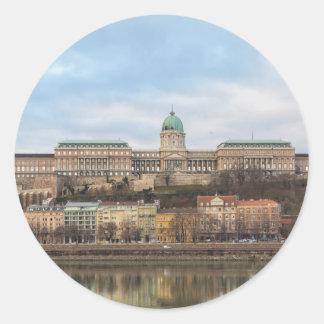 Pegatina Redonda Castillo Hungría Budapest de Buda en el día