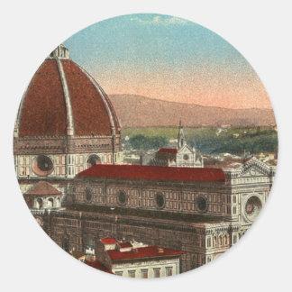 Pegatina Redonda Catedral retra de Florencia Italia Italia del arte