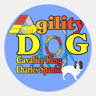 Pegatina Redonda Cavalier_King_Charles_Spaniel_Agility