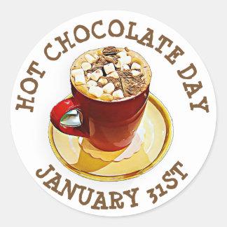Pegatina Redonda Celebre el día del chocolate caliente, el 31 de