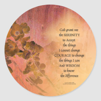 Pegatina Redonda Cerca una del membrillo del rezo de la serenidad