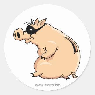 Pegatina Redonda Cerdo Ladrón