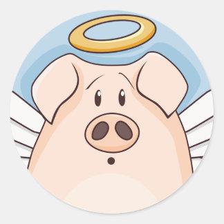 Pegatina Redonda Cerdo lindo del ángel del dibujo animado