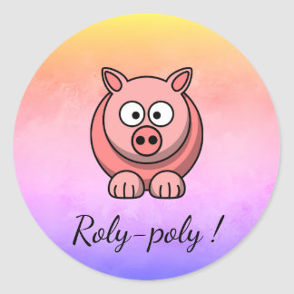 Pegatina Redonda cerdo Roly-polivinílico Pigling Piggywiggy del