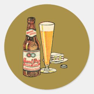 Pegatina Redonda Cerveza de cerveza dorada premiada magnífica