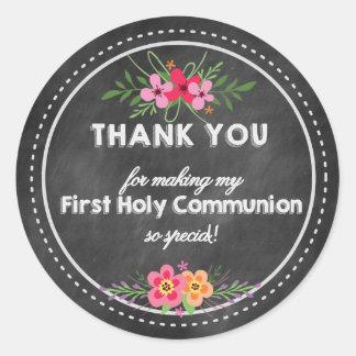 Pegatina Redonda Chalkboard Thank you tag- First Holy communion