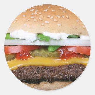 Pegatina Redonda cheeseburger delicioso con la fotografía de las