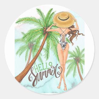Pegatina Redonda Chica en verano del ejemplo de la moda del gorra