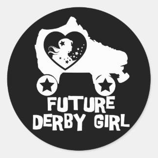 Pegatina Redonda Chica futuro de Derby, diseño del patinaje sobre