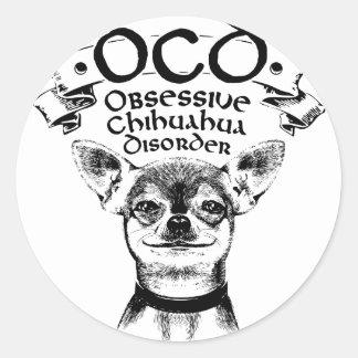 Pegatina Redonda Chihuahua obsesiva de OCD