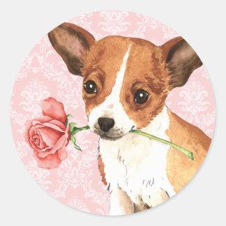 Pegatina Redonda Chihuahua subió tarjeta del día de San Valentín