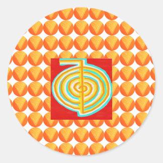Pegatina Redonda CHOKURAY: Símbolo curativo de Reiki del RAYO de