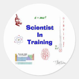 Pegatina Redonda Científico en el entrenamiento