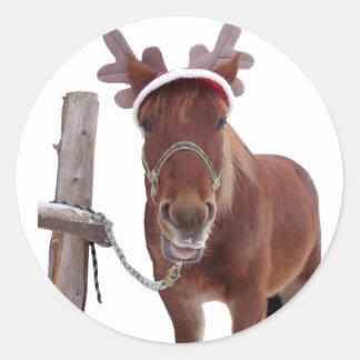 Pegatina Redonda Ciervos del caballo - caballo del navidad -