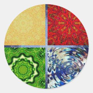 Pegatina Redonda Cinco elementos