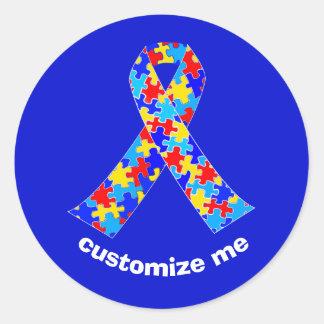 Pegatina Redonda Cinta de encargo de la conciencia del autismo