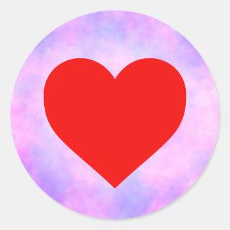 Pegatina Redonda Círculo del teñido anudado con el corazón rojo