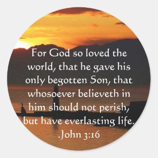Pegatina Redonda Cita inspirada cristiana del 3:16 de Juan