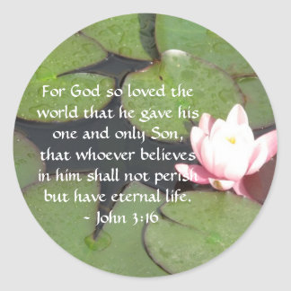 Pegatina Redonda Cita inspirada de la escritura del 3:16 de Juan