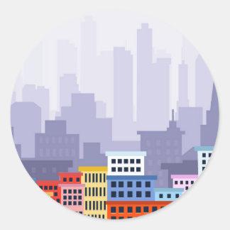 Pegatina Redonda Ciudad